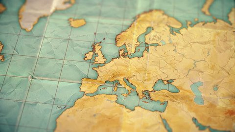 Zoom in from World Map to Europe. Old well used world map with crumpled paper and distressed folds. Vintage sepia colors. Blank version