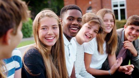 Group Of Teenage Students Socializing Outside School Buildings
