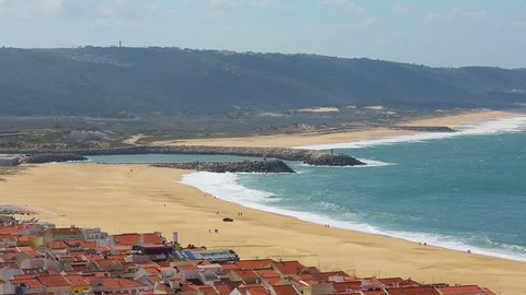Panoramic view of the beach. Nazare, Portugal.