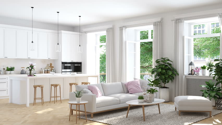 3D rendering. modern living room in townhouse
