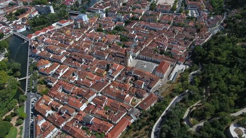 Aerial Shot Old City Tomar With Templar Castle and Convent of Christ Portugal 4k