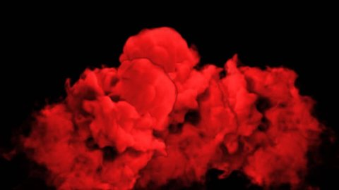 Abstract stylized Red ink drop in water on a black background for effects with Alpha channel matte. 3d render. voxel graphics. computer simulation V23