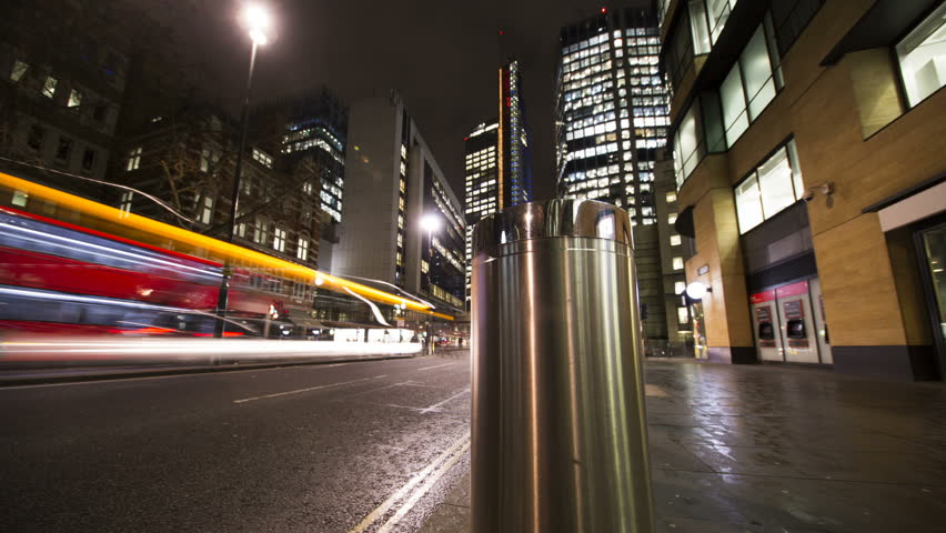 London, UK, March 16 2018. Slider timelapse of downtown street with car headlights rushing past in a blur | Shutterstock HD Video #1009020320
