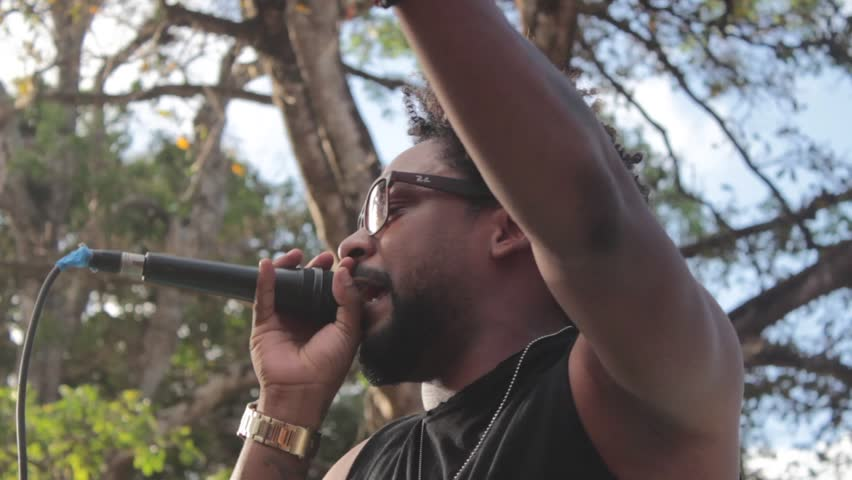 Penonome, Panama - February 16, 2018: African American reggae singer during live performance #1009021730