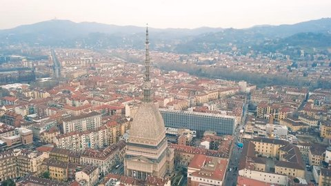 Aerial view of Mole Antonelliana in Turin