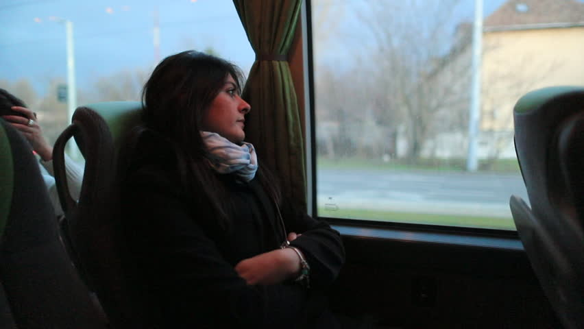 Candid authentic clip of young woman traveling by bus | Shutterstock HD Video #1009070900
