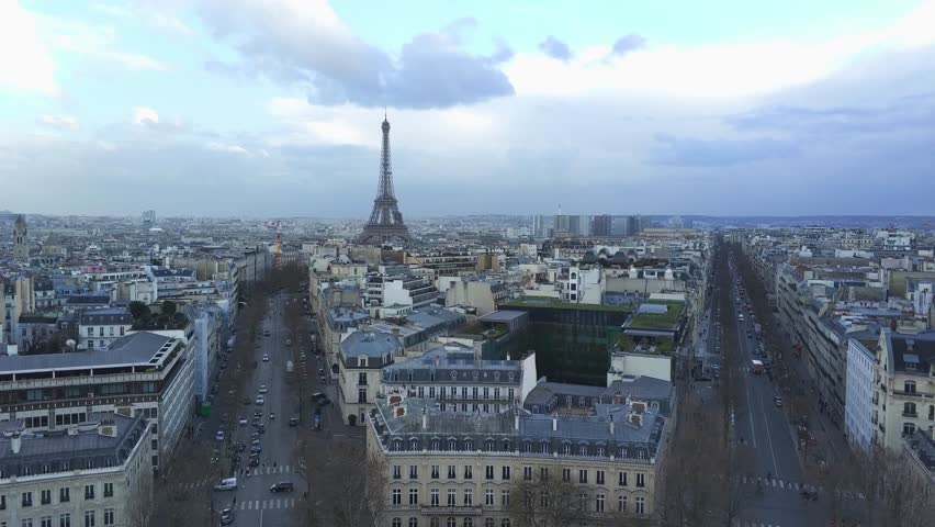 Aerial view of Paris cityscape | Shutterstock HD Video #1009072160