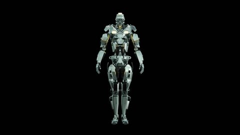 Army Robot, military Cyber Mech with infographic data rotating on black background, 3D rendering