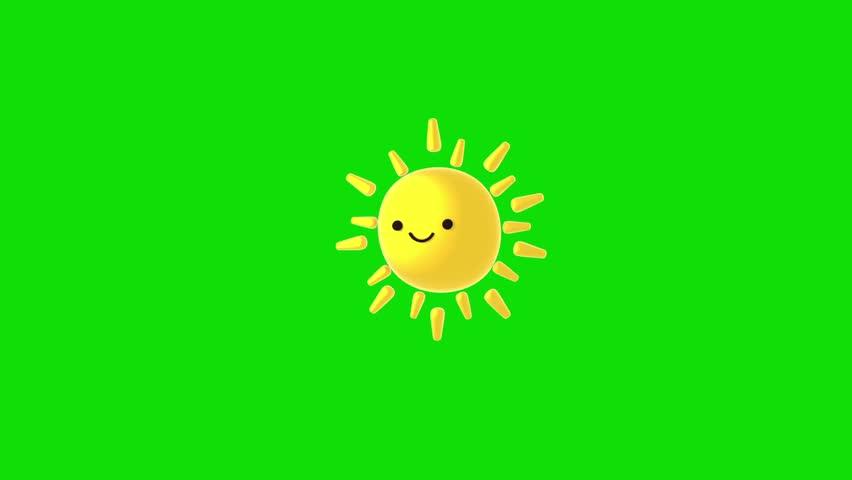 3d cute sun on green screen. (Looped)   Shutterstock HD Video #1009078910