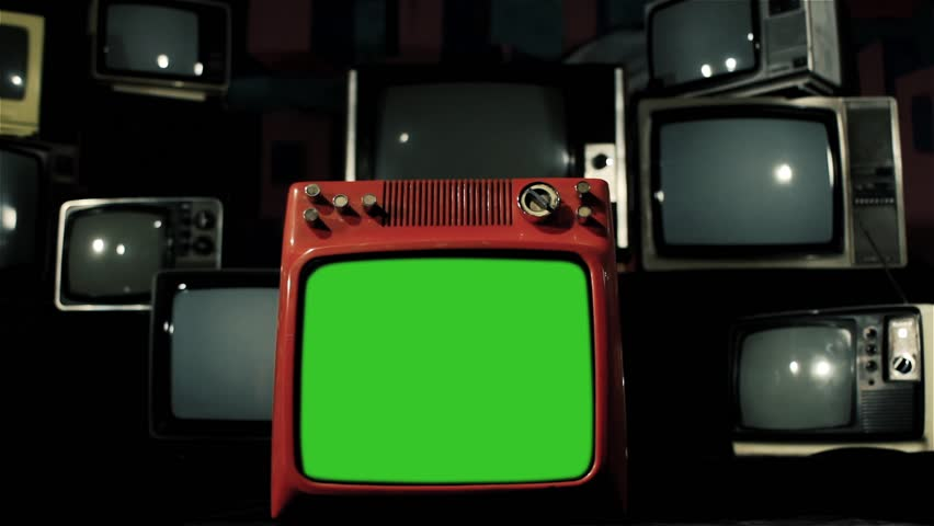 Vintage Red Tv Green Screen with Many 1980s Tvs. Dolly Out Shot. Iron Color Tone. | Shutterstock HD Video #1009079120