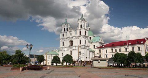 Grodno, Belarus. Famous Landmark Is St. Francis Xavier Cathedral At Sunny Summer Day. Zoom, Zoom In