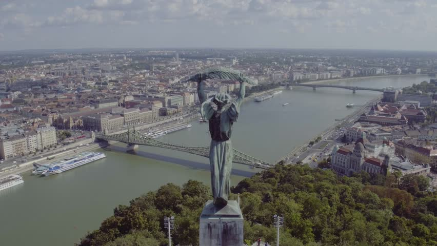 Aerial footage of the Liberty Statue (Budapest, Hungary, 2016) | Shutterstock HD Video #1009098710