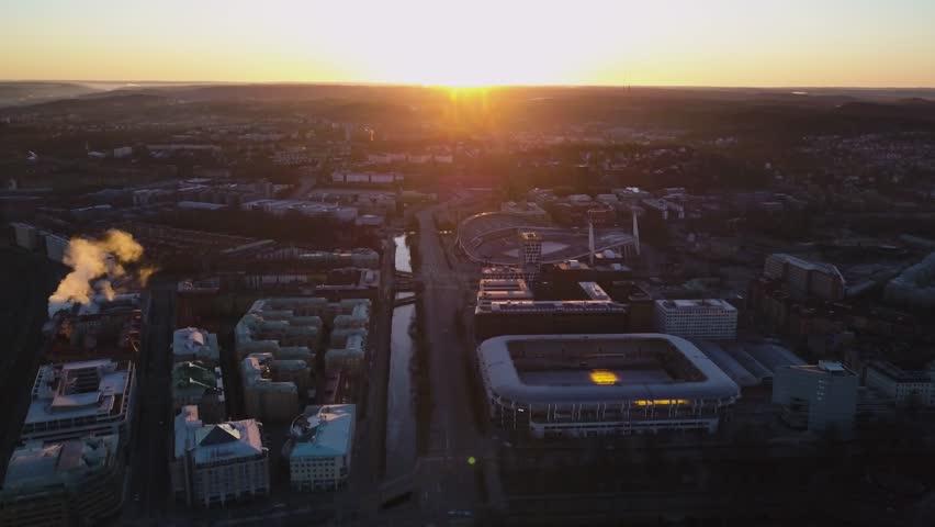 4k drone - Sunrise over the stadiums of Gothenburg, Sweden