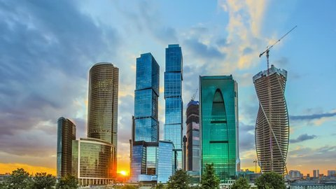 6 in 1 video! Moscow sky-scrapers sunset with clouds time lapse