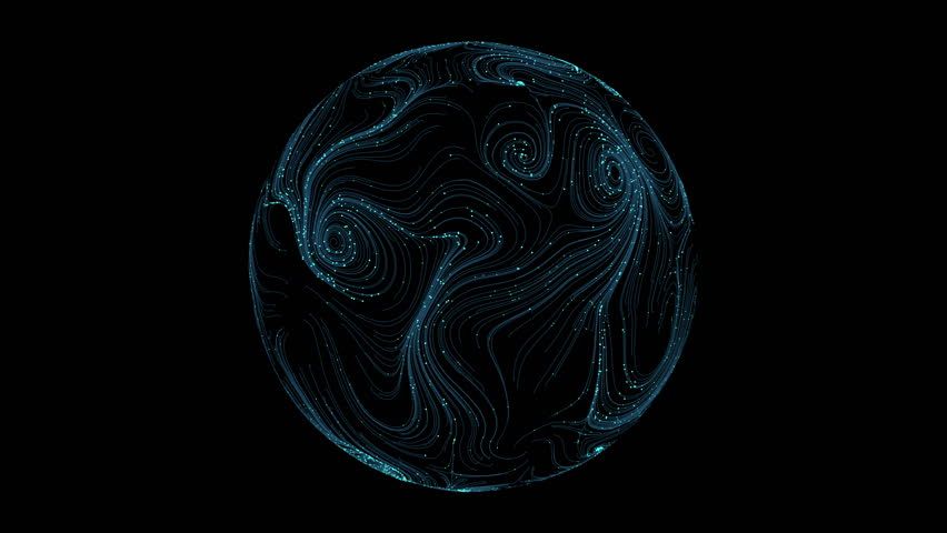 3d render abstract background. Sphere with curls lines and dots. Simple digital and technology concept.  | Shutterstock HD Video #1009209920
