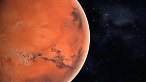 3D render. Planet Mars rotating in space