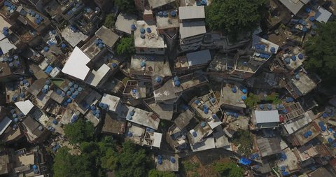 Aerial drone of the Favela, Brazilian Rio de Janeiro a low-income urban area in Brazil.