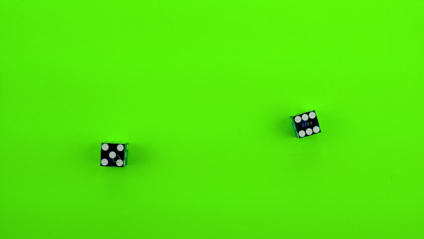 Blue casino dice being rolled and settling on eleven on a green screen. Multiple rolls.