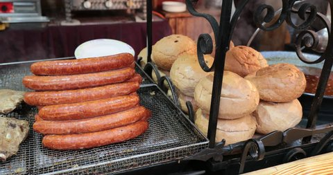 Selling sausages and bread and hot dog stand