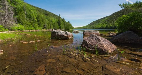 A motion controlled time lapse of a sunny summer day at Bubble Pond in Acadia National Park, Maine.