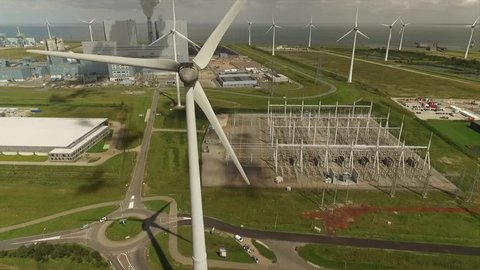 Electrical power plant with windturbines