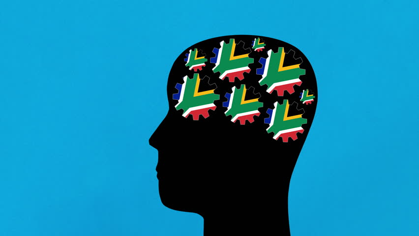 Turning south african flag gears in human head profile moving from right to left