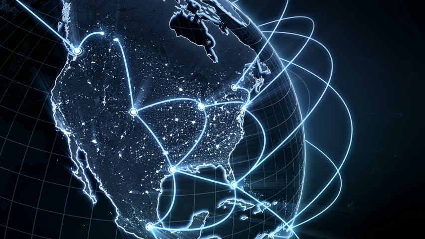 Growing global network. Internet and business concept. Connecting people all around the world. Close-up of Earth. Blue version. Seamless loop.  4K | Shutterstock HD Video #1009321340