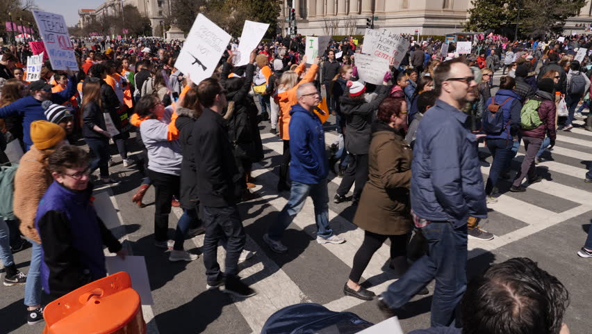 Washington, DC March 24, 2018. Protestors marching, March of Our lives Protest, Washington DC, 3 Axis Gimbal