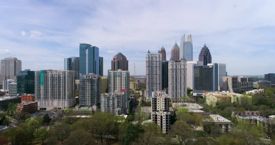 Aerial footage viewing the city skyline of Atlanta. Smooth camera movement.