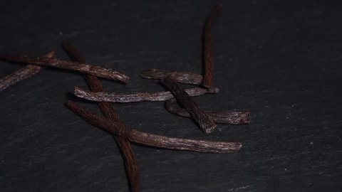 Vanilla pod. ingredients for warm wine, mulled wine. circular video. Slow-mo