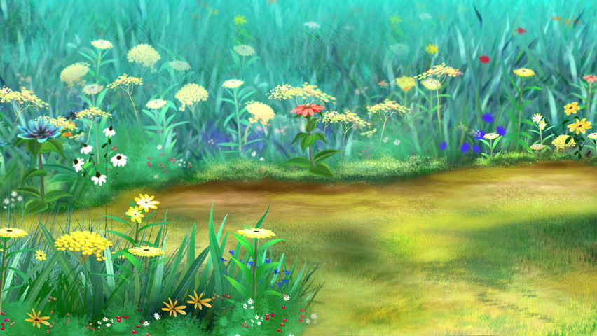 Yellow Chicken Walks and Pecks on a flower meadow in a sunny day. Handmade animation,  motion graphic.