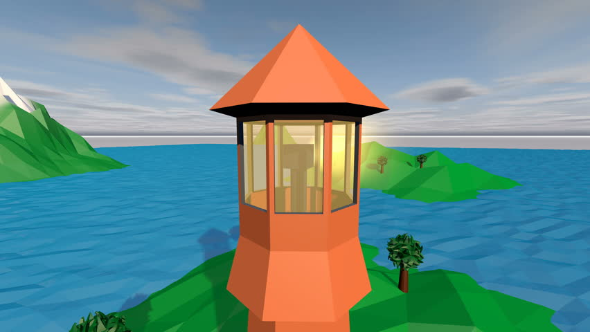 POV in a 3d rendering option of a low poly seascape with blue waters, islets, rotating searchlight on a brown tower, white boat moving around the island with a green hill.