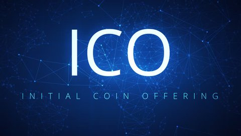 Loopable ICO initial coin offering blockchain technology network futuristic hud background. Global cryptocurrency ICO blockchain business banner concept. 4K seamless loop video footage animation