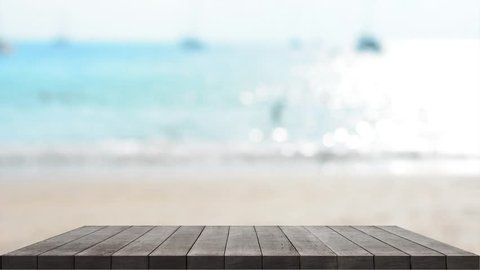 Table on outdoor beach backgrounds