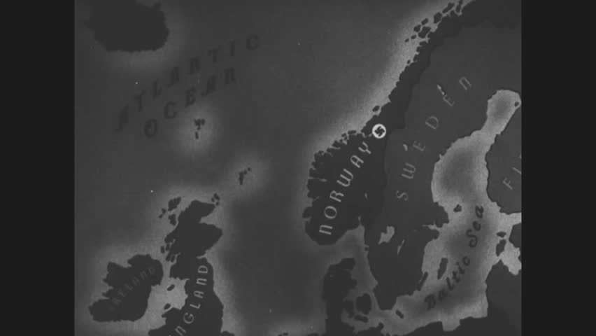 CIRCA 1940s- A rendering of Allied aircraft carriers traveling to the coast of Norway and Naval allies attack Nazis in Narvik, Norway during WWII.