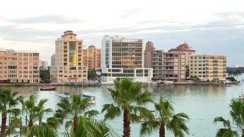 Sarasota downtown view through the palm trees, Florida