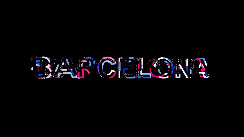 Letters are collected in city BARCELONA, then scattered into strips. Alpha channel Premultiplied - Matted with color black