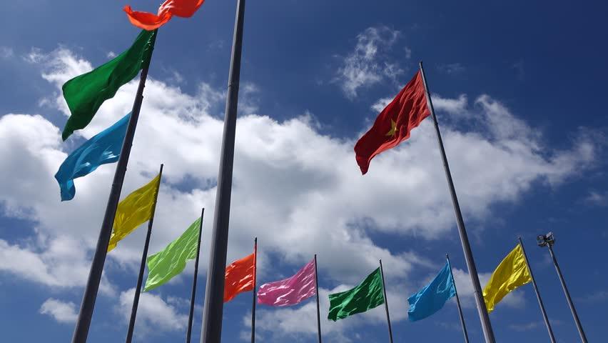 Vietnam flag in the wind | Shutterstock HD Video #1009452170