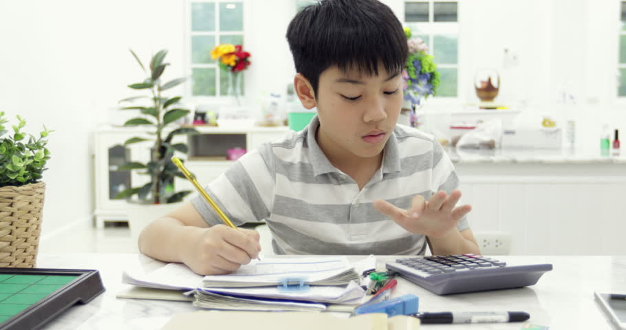 Asian child reading calculating and writing to do homework at home. | Shutterstock HD Video #1009489880