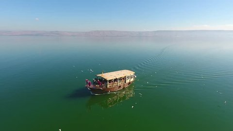 Seagulls around / up to a sailing boat in Sea of Galilee kinneret israel tiberias