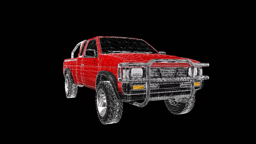 A three-dimensional model of a pickup truck in the form of a polygon mesh object with textur. The camera moves makes around.