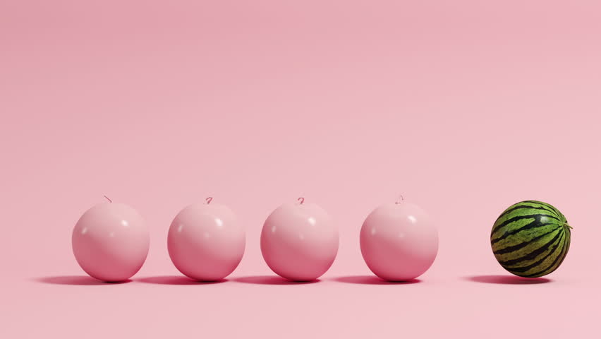 Funny Idea Creative Concept roll with Pink Watermelon with Green Water lemon. 3D animation Idea concept. | Shutterstock HD Video #1009588670