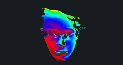 Animation of Digital Human Head on Colorful Noisy Moving Lines