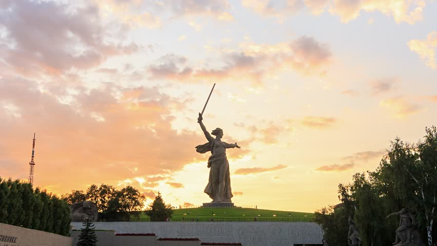 Russia, Volgograd - August 28, 2017: Sculpture Motherland Calls! - compositional center of monument-ensemble to Heroes of Battle of Stalingrad on Mamayev Kurgan | Shutterstock HD Video #1009641650