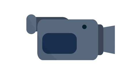 Camcorder video camera Icon symbol motion graphics in and out animation blue