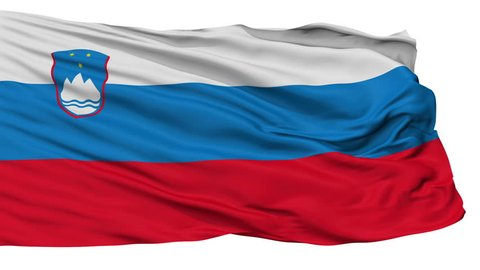 Slovenia flag, city of Slovenia, realistic animation isolated on white seamless loop - 10 seconds long (alpha channel is included)