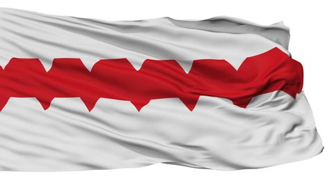 Omsk flag, city of Russia, realistic animation isolated on white seamless loop - 10 seconds long (alpha channel is included)