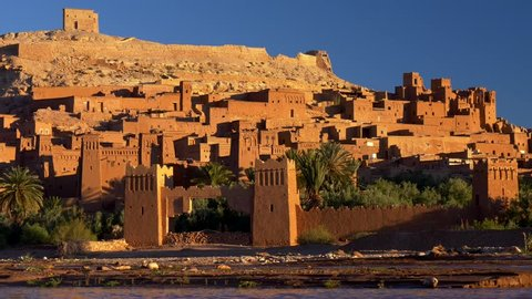 Ksar of Ait-Ben-Haddou, Morocco. Fortified village, great example of Moroccan earthen clay architecture.