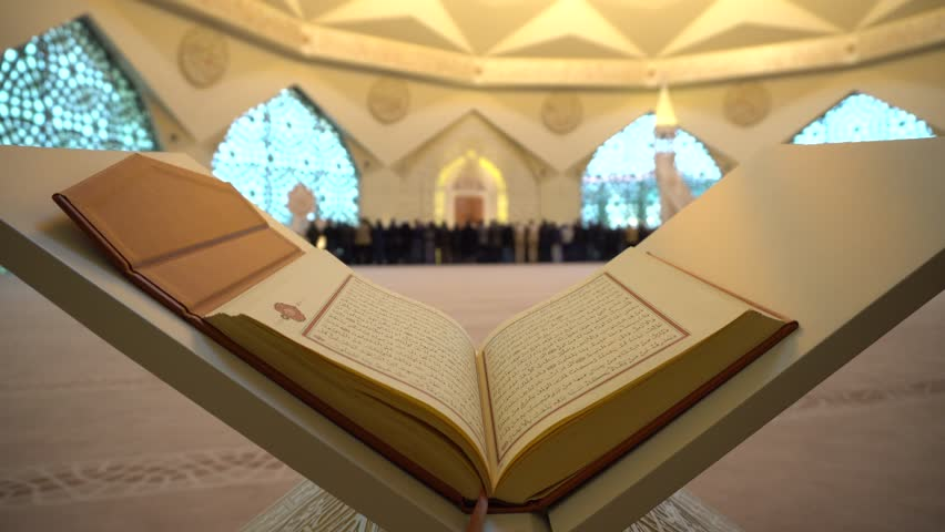 2- Koran or Quran - holy book and noon prayer in congregation male Muslims sacred Mosque with Sound ISTANBUL, TURKEY - MARCH 2018 | Shutterstock HD Video #1009711100