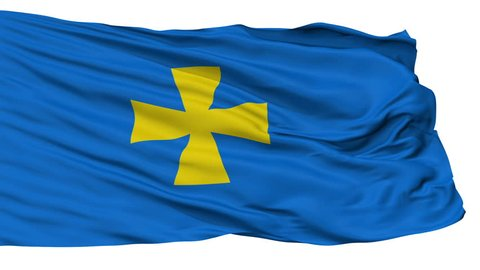 Poltava Oblast flag, Ukraine, realistic animation isolated on white seamless loop - 10 seconds long (alpha channel is included)